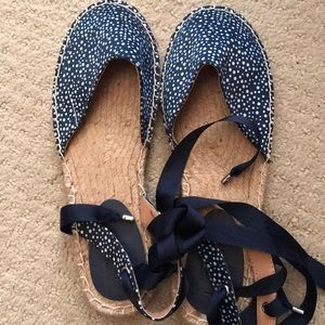 LOFT Shoes - NEW loft blue and white satin espadrilles